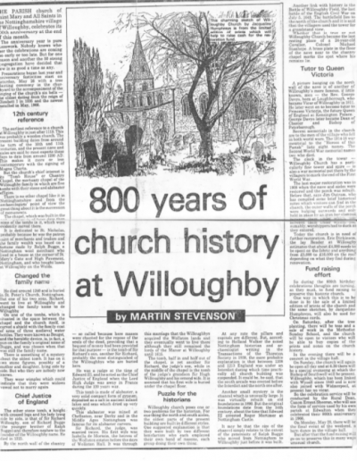 800 years Willoughby Church histroy from N Eve Post