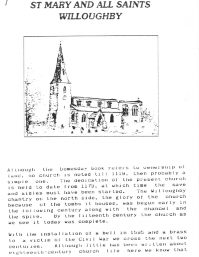 Willoughby Church history booklet 1